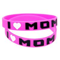 розовые браслеты оптовых-Горячее надувательство 1 шт. я люблю мама логотип силиконовый браслет чернила заполнены цвет браслет розовый взрослый размер