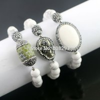 Wholesale Pyrite Bracelet - Charm 5Pcs Pave Rhinestone Crystal Pyrite   Druzy Stone Stretch Bracelet ,White Turquoise Beaded Bracelets Jewelry Finding