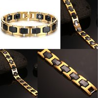 Black Ceramic Stainless Steel Charm Magnetic Health Care Link Braceletes para Mulheres com Gold Color Therapy Balance and Energy Bracelet B878S