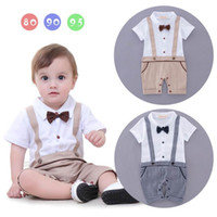 Wholesale Overalls For Kids Boy - Retail Summer Baby Boys onesies Rompers Gentleman Plaid Cotton One Piece Short Sleeve Jumpsuit Overalls For Kids Boy Infant Clothes 13265