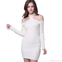 Neckholder-Kleid Damenmode Pur Color Sexy Schulter-Off Long Sleeves Backless schlanke Kleider Damenmode Casual Vestidos