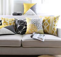 Wholesale Nordic Minimalist - Geometric Triangles Plaids Rhombus Cushion Covers Nordic Minimalist Stripes Rug Pattern Pillow Cover Decorative Sofa Velvet Pillow Case