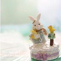 Wholesale Rabbit Jewelry Box - Little rabbit receive a case angel white rabbit jewelry box jewelry box resin 6*9cm