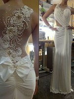 Wholesale Mermaid Bowknot Wedding Dresses - The new 2017 pearl mermaid wedding dress adornment small round collar sleeveless bowknot dress uneven small wrinkles