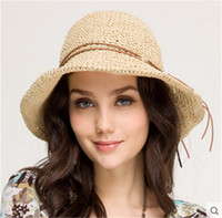 Wholesale green straw hat for sale - New fashion women line decoration costume hat ms sun hat summer beach soft straw Bohemia folding manual hat