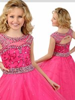 Великолепное платье Gageant Flower Gageant Sexy Cut-Back Бисероплетение Organza Ruffled Cap-Sleeves Crystal Ruched Little Girl Flower Girls 'Dresses 2017