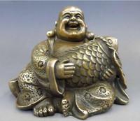 Wholesale folk art fish for sale - Group buy Chinese Brass Copper Buddhism Fengshui Fish Money Wealth Maitreya Buddha Statue