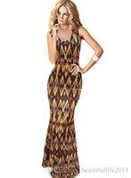 Wholesale Tight Maxi Skirts - Newest women Fashionable sexy V-neck sleeveless tight waist long dress Check printing sleeveless plus size step skirt CG010
