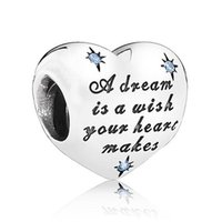 Wholesale Dream Bracelets - Authentic 925 Sterling Silver Bead Charm Cinderella Love Heart Dream With Crystal Beads Fit Women Pandora Bracelet Bangle Diy Jewelry HK3385