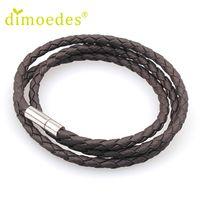 Wholesale Rhodium Plated Magnetic Clasps - Wholesale- Brand new 2016 handmade braided unisex leather bracelet bangle cuff Fashion Magnetic Clasp bracelets Jewelry women men gift 1pcs