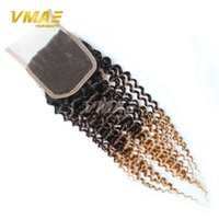 Brazillian Kinky Curly Lace Closure 4x4 Free Mittleren Teil Farbe 1B 4 27 # Ombre Human Hair Brasilianischen Deep Curly 3 Ton Top Closure