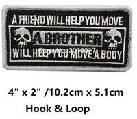 "Wholesale Military Biker Patches - 4"" MILITARY A BROTHER WILL HELP YOU MOVE Biker Vest Hook & Loop Patches For Clothing Embroidered MORALE MILSPEC MILITARY SWAT"