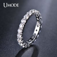 Wholesale Eternity Band Gold Diamond - UMODE Wedding 3mm 0.1 Round CZ White Gold Plated Simulated Diamond Eternity Ring Bands New Jewelry for Women Bague UR0279