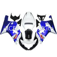 nuevo kit carenado moto al por mayor-3 regalos gratis Nueva inyección de ABS en caliente Motocicleta kits de carenado 100% aptos para Suzuki GSXR600 GSXR750 K1 00-03 2000 2001 2002 2003 Azul Blanco v91