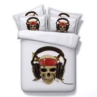 skull bedding venda por atacado-4 Estilos de Halloween Branco Música Headset 3D Crânio Impresso Conjuntos de Cama Gêmeo Completa Rainha King Size Colcha Cama Capas de Edredão Arma de Presente 3/4 PCS