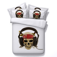 Wholesale queen skull bedding online - 4 Styles Halloween White Music Headset D Skull Printed Bedding Sets Twin Full Queen King Size Bedspread Bed Duvet Covers Gun Gift