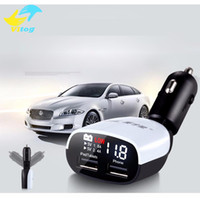 Wholesale car dual screen resale online - 2016LED Screen Dual USB Car ChargerCars Voltage Monitoring Display for iPhone S plus for Samsung S6 for iPad Universal Charger