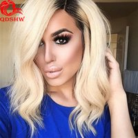 Wholesale Platinum Blonde Short Wigs - Blonde Full Lace Wig For White Women Glueless Lace Front Human Wig Lace Blonde Wavy Short Platinum Blonde Human Hair Wig Bleached Knots