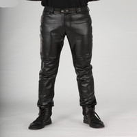 Wholesale Leather Pants 23 - Wholesale- New Arrival Autumn Fashion Mens Black Leather Pants Slim Fit Fashion Korea Motorcycle Trousers Winter Skinny Pants For Man 38