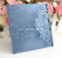 Wholesale Blue Wedding Cards Design - Wholesale- 12pcs Free shipping snowflakes invitation card laser cut navy blue wedding invitations snowflakes design
