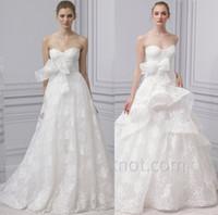 Wholesale Plus Size Peplum Belt - peplum skirt and bow belt corset lace wedding dresses 2017 Monique Lhuillier bridal sweetheart neckline ball gown sweep train