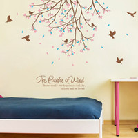 Wholesale Fly Quotes - Flying Birds among Flowers Tree Branches Wall Stickers Living Room Bedroom Wallpaper Poster Art Love Be Loved Wall Quote Graphic Decals