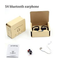 Wholesale Wireless Headphones Sport Mp3 Player - 20 pcs a lot S4 Stereo In-Ear Bluetooth Earphone Wireless Sport Headsets Music Player with Mic For Xiaomi Samsung headphone MP3