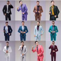 Wholesale Wedding Tuxedos Colors - Newest 12 Colors Two Pieces Slim Fit Wedding Suits Men Notch Lapel Business Groom Wear Elegant Bridesgroom Tuxedo Jacket and Pants