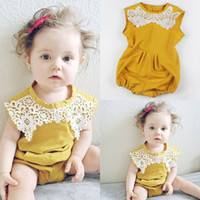 Wholesale Yellow Baby Romper Suit - INS Newborn Infant yellow lace body suit baby Girls Sleeveless Lace outfit Floral Romper Jumpsuit O-Neck yellow Sunsuit Clothes 0-2ears free