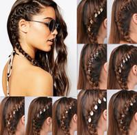 Wholesale Cross Clip Hair - 5pcs 1set NEW Fashion NEW Metal Star Ring Shell Cross Star Bergamot Circle Leaves Shape Hairpin Girls' Hair Clips Women Hair aa166