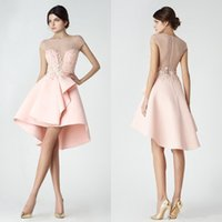 Wholesale Sweet 16 High Low Dresses - Sweet Light Pink Cap Sleeves Little Short Cocktail Dresses 2017 Crew Neck Tulle High Low Sexy Illusion Back Zipper Back Short Prom Dresses