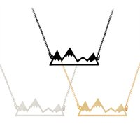 Wholesale Charm Mountains - Mountain Peak Necklace Snowy Mountain Pendant Necklaces For Women Men Charm Natural Creative Gifts Jewelry Hollow Chain XL507