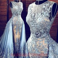 Wholesale Evening Gowns Cap Sleeves - Real Images Light Blue Elie Saab 2017 Evening dresses Detachable Train Transparent Formal Dresses Party Pageant Gowns Celebrity Prom Long