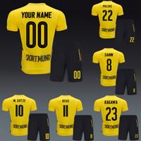 Wholesale Mario Football - Borussia Soccer uniforms Football kits maillot de foot 2017 home sets marco reus Mario Gotze Pierre Aubameyang Christian Pulisic kagawa