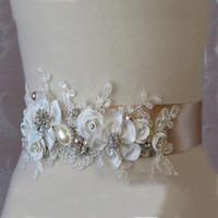 ingrosso applique per cinture di sicurezza-Splendidi nuovi fiori fatti a mano Cintura cintura sash di alta qualità Appliques in pizzo Accessori moda da sposa Abito da sposa