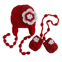 Wholesale Baby Hat Mitten Sets - Handmade Knit Crochet Baby Girl Red White Flower Hat with Braids and Mittens Set,Baby Girl Coming Home Outfit,Newborn Photography Prop