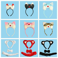 favores de la pajarita al por mayor-2017 Nueva 3D Cat Headband Bow Tie Tail Cosplay Animal 3 unids Set Niños Adultos Halloween Performance Props Party Favors