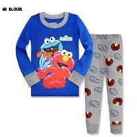 Wholesale Sesame Street Clothes - Christmas Cotton Spring Sesame Street Clothing Set Cartoon Elmo Cookies Monster Sleepwear Pajamas Sport Suit Tracksuits