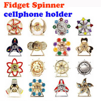 Wholesale Wholesale Fingertip Rings - Creative metal fidget spinner cellphone ring holder fingertips gyro phone stand gyro phone stent lazy reversible phone stand finger ring