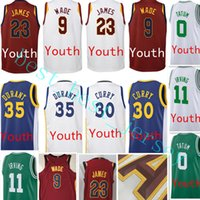 Wholesale Kevin Durant Jersey Youth - 2017-18 New Youth #30 Stephen Curry 35 Kevin Durant jersey 2018 Youth Kid 23 LeBron James 9 Dwyane Wade stitched jerseys