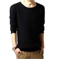 Wholesale Ripple Knitting - Wholesale- 2016 Men Autumn Ripple Pullover Sweaters O-neck Sweater Long Sleeved Turtleneck Sweater Knitted Men 3 colors SIZE:M-XXL B0136