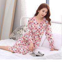 Wholesale Wholesale Velvet Pajamas - Autumn and winter women's pajamas double-sided plus velvet skirt cartoon bunny long sleeves pink round neck pajamas