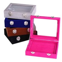 Wholesale Cheap Showcase Display - Wholesale cheap Glass Jewellery Tray Rings Display Box Storage Earring Organizer Case Showcase