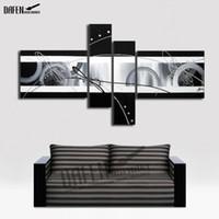 marcos negros para pinturas al óleo al por mayor-100% pintado a mano pintura al óleo abstracta en blanco y negro lienzo pinturas de pared 4 unids / set arte de la pared para sala de estar decoración sin marco