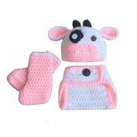 Wholesale Cow Costume Pink - Lovely Newborn Pink White Cow Costume,Handmade Knit Crochet Baby Girl Animal Set Cow Hat,Diaper Cover and Boots Set,Infant Photo Prop