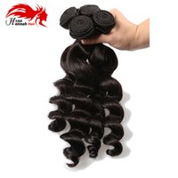 28 inç remy saç uzatma toptan satış-Hannah Gevşek Dalga Malezya Remy 100% İnsan Saç Uzatma Atkı 10-28 inç Doğal Siyah Renk Ücretsiz Nakliye 3 paket Saç Örgü