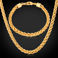 "Wholesale 18 Copper Chain Necklace - U7 5MM Wheat Spiga Chain Necklace Bracelet Set Gold Platinum Black Gun Rose Gold Plated 18"" 22"" 26"" Necklace Bracelet Men Jewelry Sets"