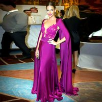 Wholesale Sexy Purple Jacket - Elegant V-Neck Saudi Arabia Evening Dress with Jacket Wrap Sexy Lace Top Formal Party Dresses Custom Made A-Line Dubai Long Evening Gown