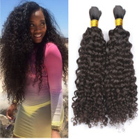 Wholesale African Curly Hair - Afro Kinky Curly Hair Bulk For Braiding 8A Brazilian Human Hair 3 Pcs lot Hair Bulk For African American