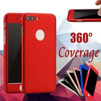 Wholesale Iphone 5s Body - 360 Degree Case Coverage Full Body Protection Ultra-thin Hard PC Full Cover Body With Tempered Glass For iPhone X 8 7 Plus 6 6S SE 5 5S